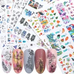 84 sztuk mieszane wzornictwo zestaw naklejek do paznokci biżuteria kwiat zwierząt geometria znak wodny naklejki tatuaż Nail Art