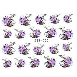 1 arkusz piękno fioletowym kwiatem naklejki do przyczepiania na wode do paznokci naklejki ozdobne DIY dekoracje francuski manicu