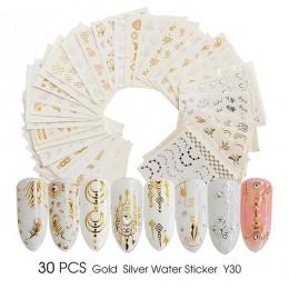 Pełne piękno złote i srebrne na paznokcie woda naklejka z kwiatami i piórami pająk projekt naklejka na ozdabianie paznokci pazno