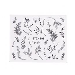 1 sztuk czarny liść naklejka do paznokci kwiat woda Transfer naklejka suwak zdobienie paznokci dekoracje do Manicure okłady foli