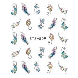 1 arkusze kolorowe fioletowe kwiaty fantasy naklejki do paznokci naklejki do transferu wody naklejki do manicure końcówki naklej