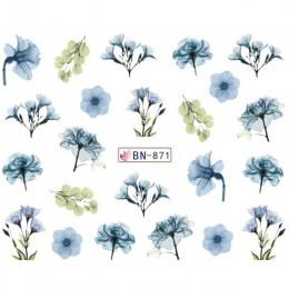 1 sztuk Daisy Lavender woda Transfer naklejka na paznokci kompozycja z kwiatów liść suwak folia wskazówka dekoracja paznokci uro