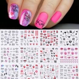 12 sztuk naklejka do paznokci suwaki Love Heart w litery Nail Art woda kalkomanie transferowe kwiaty Manicure tatuaże CHBN1489-1