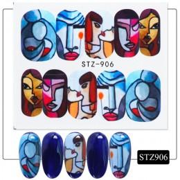 1pc streszczenie twarz nowy projekt woda kalkomanie do paznokci i naklejki modne dziewczęce Manicure pełny suwak paznokci dekora