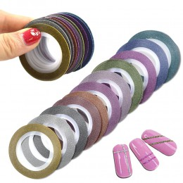 12 sztuk/partia 1mm 12 kolory brokat taśmy do paznokci taśmy do paznokci DIY dekoracji naklejki Nail Art uroda akcesoria BENC392