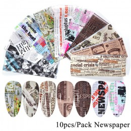 10 sztuk paznokci naklejka foliowa Vintage gazeta zestaw żelowy mieszane kwiaty marmur klej kalkomanie transferowe gwiaździsty p