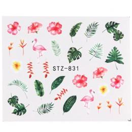 1 szt. Nowe naklejki na paznokcie zielony liść z flamingiem kwiatami z piór woda naklejki na paznokcie dekoracje artystyczne okł