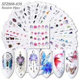 1 zestaw znak wodny suwak naklejki kalkomania transferu wody tatuaż kwiat motyl dekoracyjny Manicure klej wskazówka JISTZ608-658