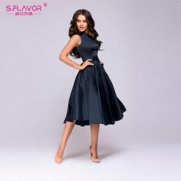 S. FLAVOR styl Vintage kobiety Midi sukienka moda bez rękawów elegancka linia Vestidos z paskiem stałe kobiety w stylu casual, l