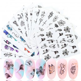 14 sztuk akwarela kwiatowy kwiat zestaw naklejek do paznokci lotosu motyl słodkie zwierzaki woda naklejki Nails tatuaże Manicure