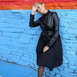 Kobiety Sashes patchwork skóra pu linia sukienka z długim rękawem stojak kołnierz zimowa sukienka w stylu Vintage moda praca w b