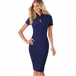 Ładny-zawsze Vintage kontrast kolorowy Patchwork nosić do pracy węzeł vestidos Bodycon biuro biznes obcisła damska sukienka B430