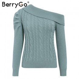BerryGo Sexy jedno ramię sweter z dzianiny damskie Vintage bufiaste rękawy swetry sweter damski ciepłe damskie jesienno-zimowa m