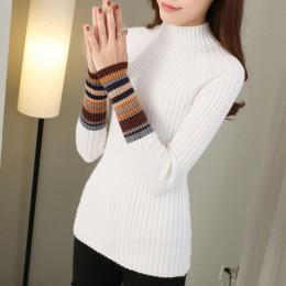 Ciepły zimowy sweter na długi rękaw z ozdobnym splotem na rękawach półgolf pod szyję klasyczny elegancki