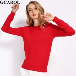 GCAROL nowy O Neck kobiety 30% sweter z wełny cukierki Jumper Casual Stretch jesień zima podstawowe Render dzianinowy sweter S-3