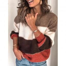 Luźne, jesienne zima sweter w paski kobiet sweter Plus rozmiar damskie swetry wysokiej jakości ponadgabarytowych color block swe