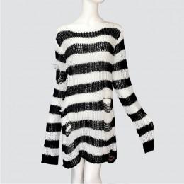 Plus rozmiar Punk Gothic długi Unisex Sweter sukienka kobiety mężczyzna paski fajne Hollow Out Hole Broken Jumper Loose Rock cie