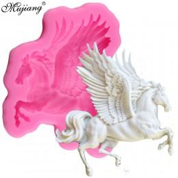 Mujiang 3D Pegasus silikonowe formy konia cukierki fondant czekoladowy formy narzędzia do dekorowania masą cukrową mydło Fimo gl