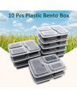 10 sztuk z tworzywa sztucznego wielokrotnego użytku pojemnik bento posiłek przechowywanie żywności Prep pudełko na lunch 3 pojem