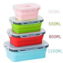 4 rozmiary składany silikonowy pojemnik na jedzenie przenośne pudełko na lunch Bento Microware strona główna kuchnia zewnętrzne