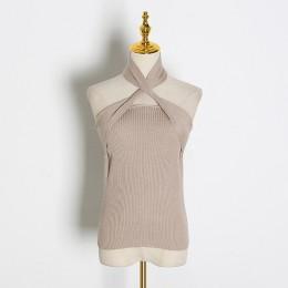 TWOTWINSTYLE stałe bez rękawów Sexy kobiety sweter Halter Off ramię slim, dziany topy kobiet moda lato 2020 nowa fala