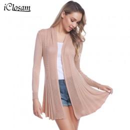 IClosam 2019 Women Casual sweter z dzianiny otwarty przód z długim rękawem średniej długości ciepły kardigan sweter klimatyzowan