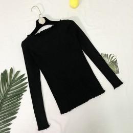 Falbany wokół szyi jesień sweter z dzianiny damskie swetry 2018 zimowe bluzki dla kobiet sweter Jumper Pull Femme Hiver Dames Tr
