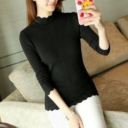 SEXMKL kobiety sweter wysoki elastyczny golf 2019 zima koreański moda sweter kobiety Slim Sexy najniższy podstawowe dzianiny swe