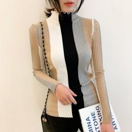 Gaganight sweter w stylu casual, w paski sweter damski Bodycon z długim rękawem golf sweter z dzianiny Patchwork Retro koreański