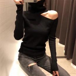Sweter z dzianiny Off Shoulder swetry sweter dla kobiet z długim rękawem sweter damski z golfem czarny biały szary seksowna odzi