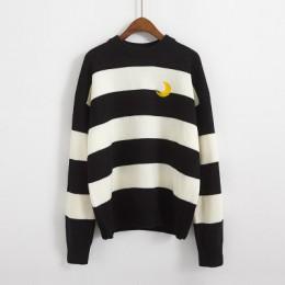 Swetry damskie Kawaii Ulzzang College cukierki kolor paski księżyc zestawy haftowany sweter kobiet odzież w stylu harajuku dla k