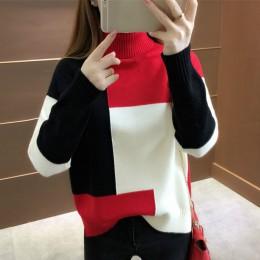 Neploe Fashion Patckwork sweter damski sweter z długim rękawem grube zimowe ubrania koreański Rainbow swetry z dzianiny z golfem