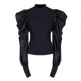 TWOTWINSTYLE przyczynowe szycie na drutach Ruched swetry damskie O Neck latarnia długi sweter z rękawem dla kobiet modne ciuchy