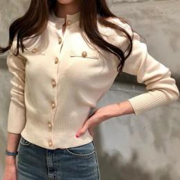 Dzianinowy damski krótki kardigan sweter koreański długi jednorzędowy rękaw swetry damskie 2020 jesienno-zimowa kardigany damski