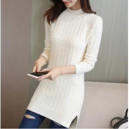 Średni długi sweter sweter damski, wiosenny, nowy, luźny worek hip najniższy topy panie jednokolorowy rozszczepiony widelec slim
