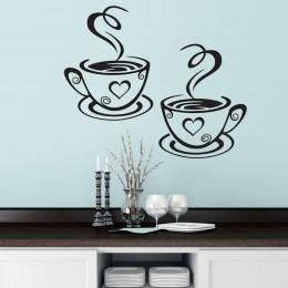 Podwójne filiżanki do kawy naklejki ścienne piękny projekt kubki na herbatę dekoracja pokoju Vinyl artystyczne nalepki ścienne n
