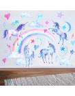Jednorożec naklejki ścienne na pokoje dla dzieci sypialnia salon dekoracyjne dziecięce naklejki ścienne zielone naklejki tapety
