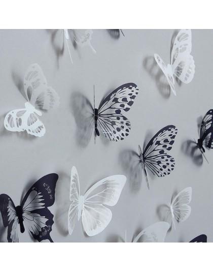 18 sztuk 3D czarno-biała naklejka z motylami artystyczna naklejka ścienna dekoracja wnętrz wystrój pokoju gorąca sprzedaż