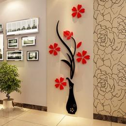 5 rozmiar kolorowe wieloczęściowe wazon na kwiaty 3D dekoracja akrylowa naklejka ścienna sztuka DIY plakat do dekoracji domu syp