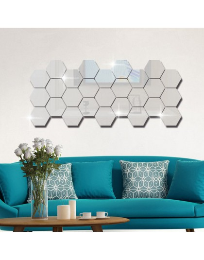 12 sztuk 3D lustro sześciokąt winylowa naklejka ścienna usuwalna naklejka ozdoby do dekoracji domu DIY gorąca sprzedaż