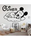 Nazwa własna myszka miki Art Vinyl naklejka ścienna tapeta do pokoju dziecięcego dzieci Babys dekoracja pokoju kalkomanie ścienn