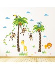 Żyrafa lew małpa palma zwierzęta leśne naklejki ścienne dla dzieci pokój dzieci sypialnia naklejki ścienne wystrój żłobka plakat