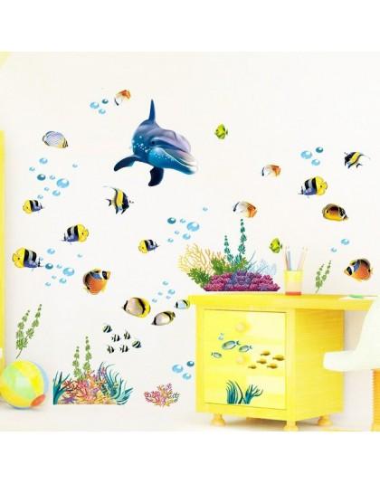 Wodoodporna naklejka na ścianę w kuchni/łazience ocean deep water sea naklejki do dekoracji wnętrz delfin fish dekoracyjna nakle