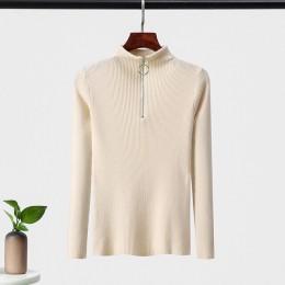 Swetry zimowe jesień kobiet 2019 Sexy Slim solid color koreański sweter z zamkiem błyskawicznym dzianiny swetry dół panie sweter