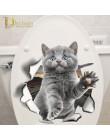 Hole View Cat Dog 3D naklejka ścienna toaleta wc dekoracja pokoju dziecięcego naklejki ścienne lodówka wodoodporny plakat