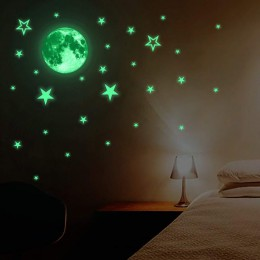 Luminous Moon gwiazdy połączenie 3D naklejki ścienne sypialnia salon dekoracji wnętrz dla dzieci pokój naklejki świecą w ciemnoś