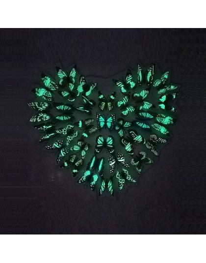 12 sztuk symulacja świetlisty motyl 3D ścienne StickerHome festiwal dekoracji świecące w ciemności magnesy w kształcie motyli na