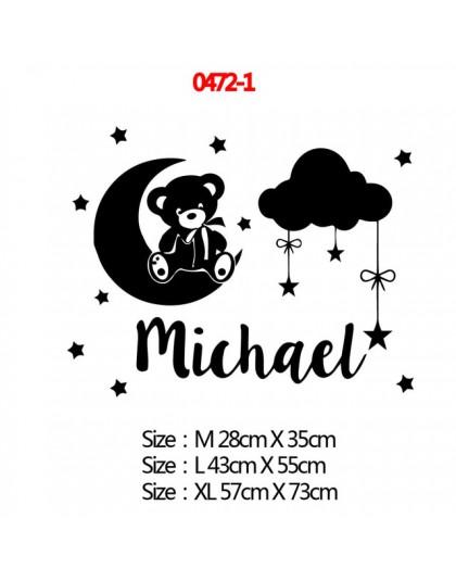 20 styl spersonalizowana nazwa kawaii naklejki naklejka ścienna etykiety winylowe dla dekoracja pokoju dziecięcego sypialnia tap