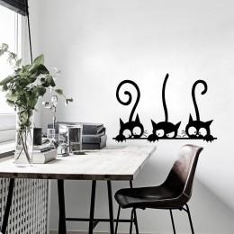 Piękny 3 czarny ładny naklejka ścienna z kotem Moder naklejki ścienne z kotem dziewczyny winylowa dekoracja do domu słodki kocia
