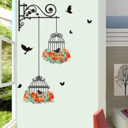 Nowy klatka dla ptaków kwiat latający do salonu naklejki ścienne do pokoju dziecięcego naklejki ścienne winylowe naklejki ścienn